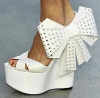 Новые модные туфли на очень высоком каблуке и платформе женские босоножки на танкетке с ремешком на лодыжке, пряжка с узлом бабочкой, размер
