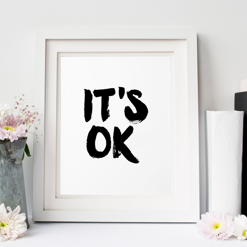 buy it is ok inspirational poster wall decor mottos motivational home. Black Bedroom Furniture Sets. Home Design Ideas