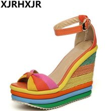 572d688609a XJRHXJR plataforma sandalias de verano de 2019 zapatos de mujer Bohemia  Arco Iris suela gruesa esponja de tacón alto de cuña de .