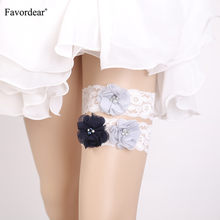 Favordear Women White Lace Beading Leg Ring Wedding Garter with Three Flowers 2 PC Elastic Band Fashion Stocking Bridal Garter(China)