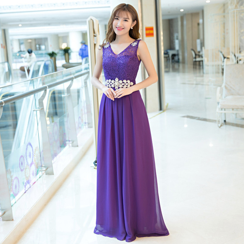 Holievery Lace Chiffon V Neck Long   Bridesmaid     Dresses   with Crystal Pink Purple Champagne Formal Party   Dress   Sukienka Druhna