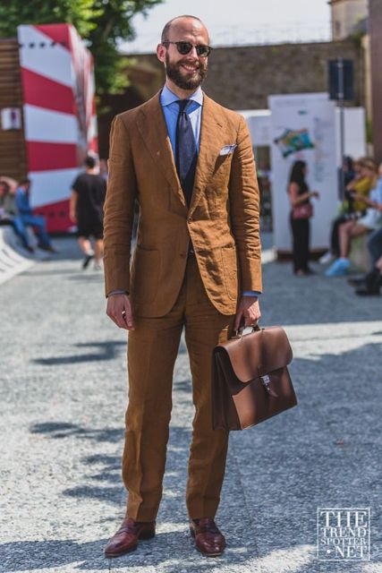 2019 Latest Coat Pant Designs Brown Linen Suits Men Slim Fit Summer