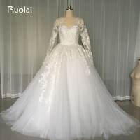 Real Custom Made Scoop Long Sleeves Appliques Crystal Ball Gown Sexy Wedding Dresses Dubai Arabic Bridal Gown for Wedding FW69