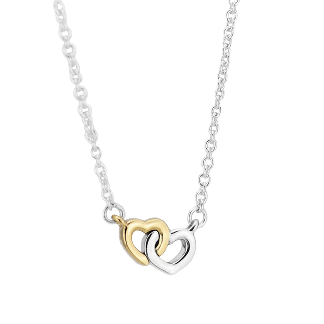 Luminous Hearts Collier Pendants and Necklace with 14K Real Gold 100% 925 Sterling Silver Fine Jewelry Free Shipping FLN025K