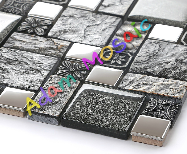 Schwarz Küche Fliesen Backsplash U Bahn Grau Mosaik Fliesen Vintage Muster  Bad Wandfliesen Innen Kamin Design Kunst In Schwarz Küche Fliesen Backsplash  ...