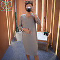 0090# Soft Thin Knitted Maternity Dress Loose Casual Bottoming Clothes for Pregnant Women 2017 Spring Summer Pregnancy Clothing