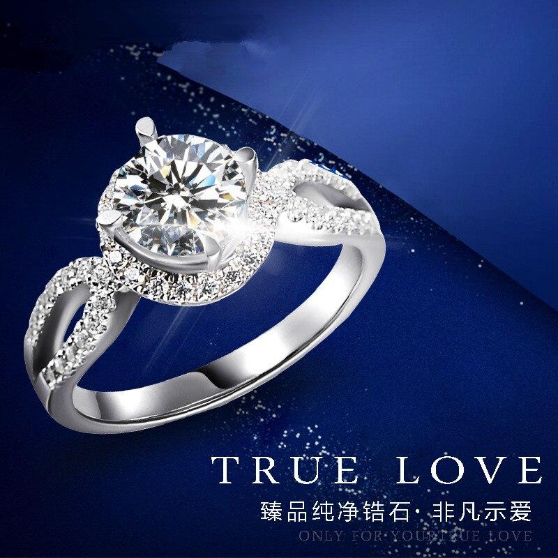 2017 nouvelle personnalité à la mode de haute qualité 100% Creative luxe cristal femmes bague de fiançailles en bijoux en argent Sterling