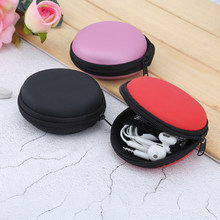 Portable Mini Round Hard Storage earphone case for Earphone SD TF Cards Black Blue Pink Purple Red for xiaomi Samsung(China)