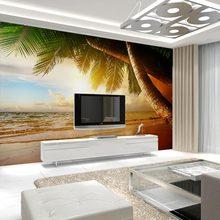 Nature Sunset Beach Wallpaper Palm Tree Wall Paper 3D