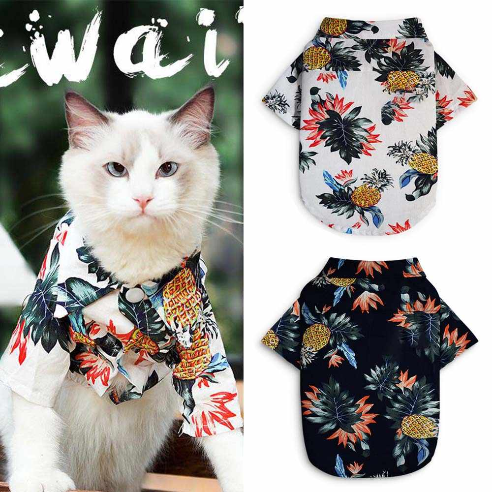 Pet Cat Clothing Summer Shirt Floral Vest Dog Clothes For Small Medium Dogs Chihuahua French Bulldog Hawaiian Style Beach Outfit