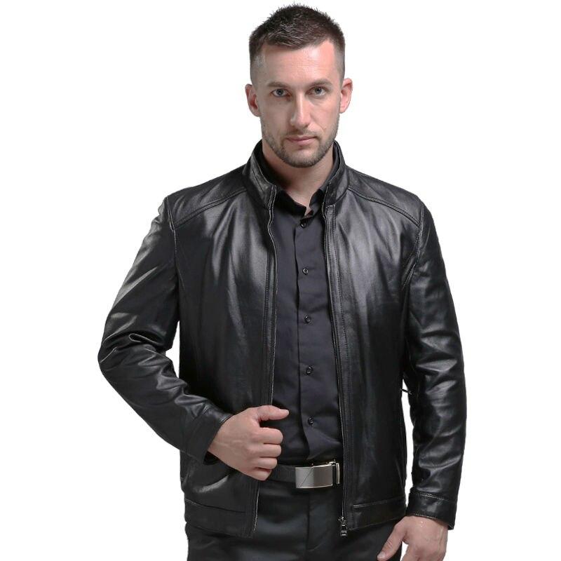AIBIANOCEL Printemps Hommes de Véritable En Cuir Vestes Marque Réel en peau de Mouton Jaqueta De Couro Mâle Noir Véritable Veste En Cuir Pour Hommes