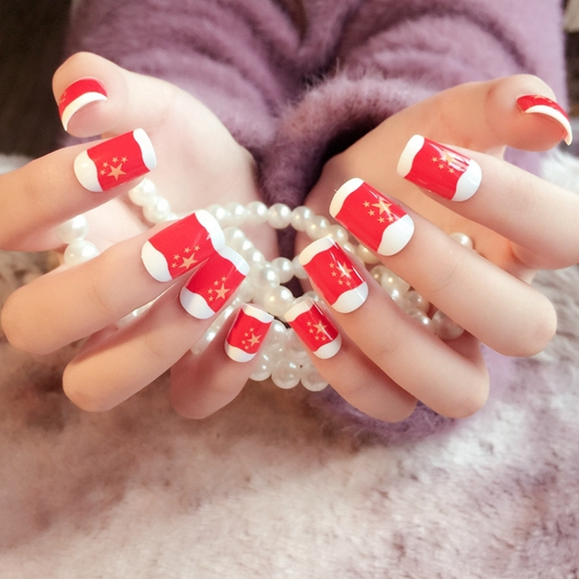 Sexy Red Artificial Nails Fashion Chinese Star Flag Design Nail Art