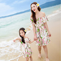 Matching Mother Daughter Clothes Family Look Print Beach Chiffon Dress Holiday Clothing Family Look  Off Shoulder Dress For Girl