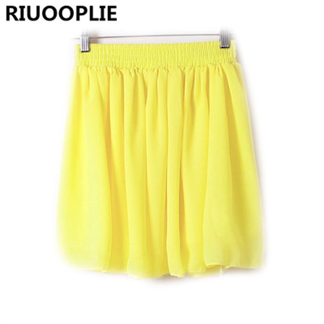 d5ea2bb08d RIUOOPLIE Women Female High Waisted Double Layer Pleated Chiffon Short Skirt  Puffy Pleated Skirt Big Swing Short Skirt