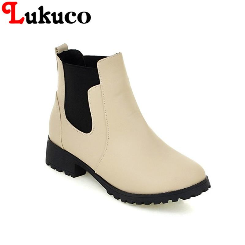 2018 Lukuco spring/autumn women ankle boots big size 37 38 39 40 41 42 43 44 45 46 47 high quality low heel design free shipping