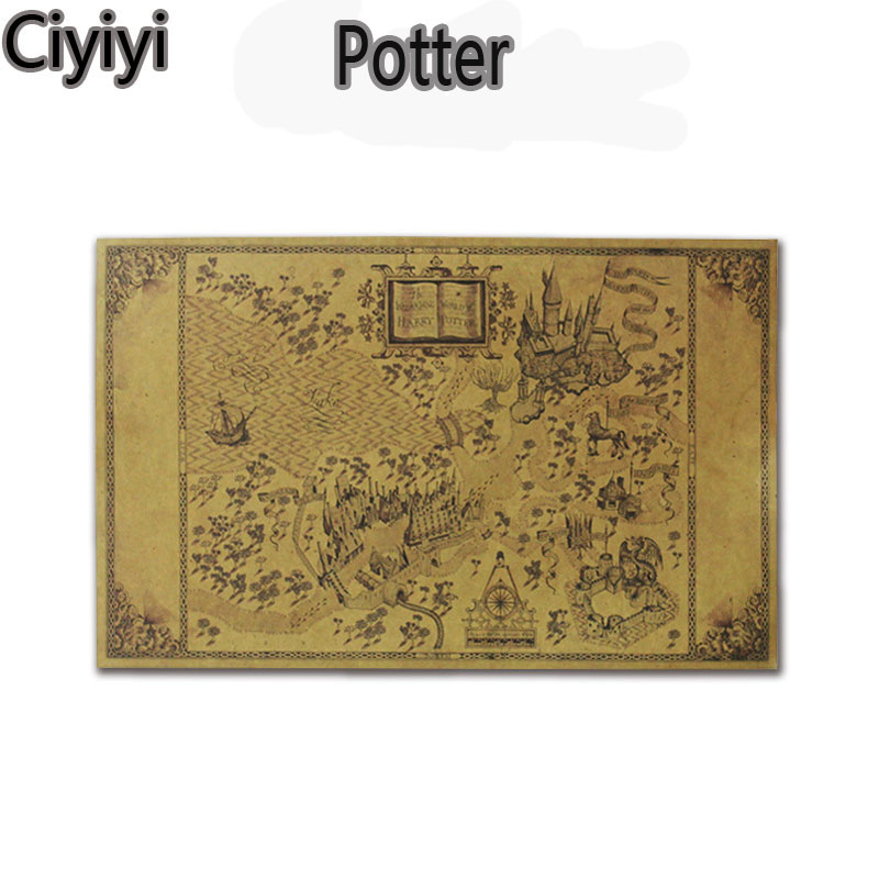 1 pc 51*32.5cm Cartoon Harri Potter Cosplay Magic World Map Toy Anime Harri Potter Treasure Map Jouet Birthday Juguetes Gift
