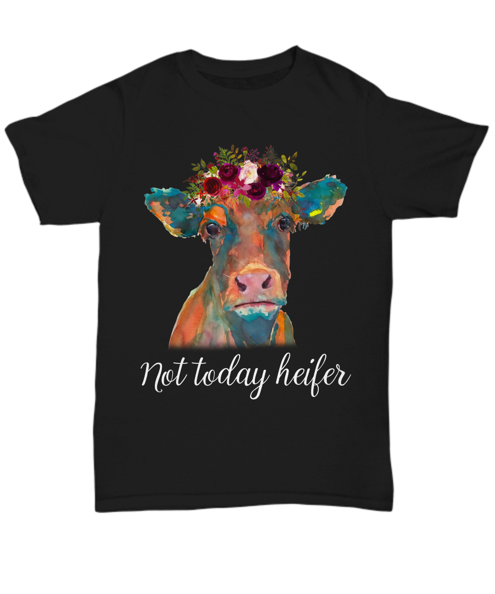 Not Today Heifer I Love <font><b>Cows</b></font> <font><b>T</b></font> <font><b>Shirt</b></font> Funny Farming Tee Gift Farmer Mens image