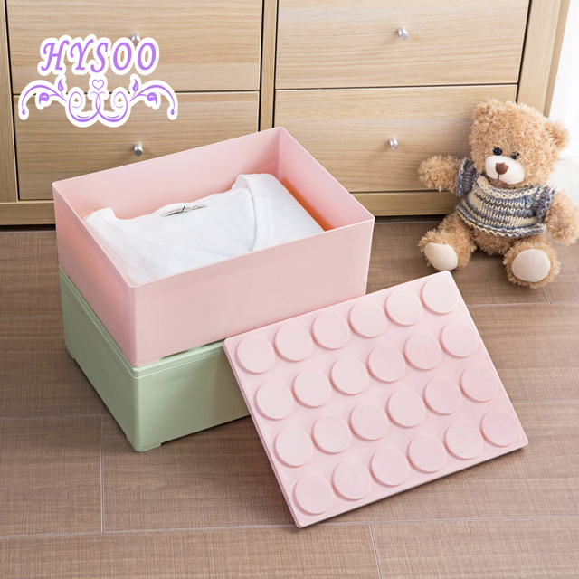 Building blocks can be stacked clothes storage box wardrobe covered with plastic storage box finishing box