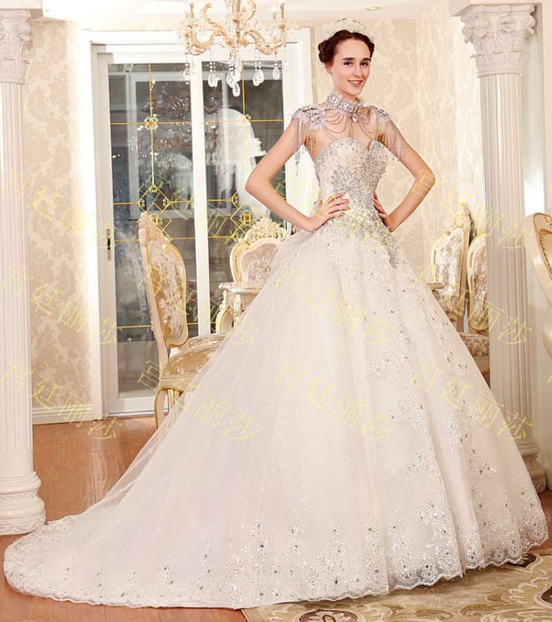 652014 New crystal strapless Wedding dresses tube top lace up ...