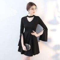 Autumn NEW Three Quarter Sleeve Women A Line Dress Sexy 50s Audrey Hepburn Black Dresses Elegant Mini Slim Vestidos Lady Gift