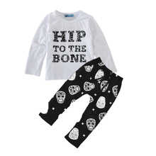baby boys clothing set autumn 2016 fashion letter t shirt+skull pants baby clothes high quality cartoon 2pcs boy clothing sets