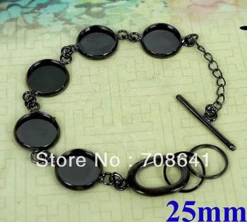 Blank Bracelet Bases Settings 25mm Round Bezel Tray Cabochon Bangle Bracelet Findings DIY Gunmetal Black Plated Brass Wholesale