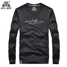 AFS jeep marca hombres casual manga larga Camiseta hombres de color puro  cuello redondo rinde la e6f9c510d36
