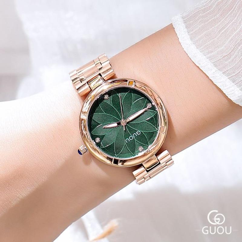 Women Watches 2018 New GUOU Ladies Watch Emboss Flower Watch Stainless Steel Auto Date Watch Clock relogio feminino saat|Women's Watches| |  - title=