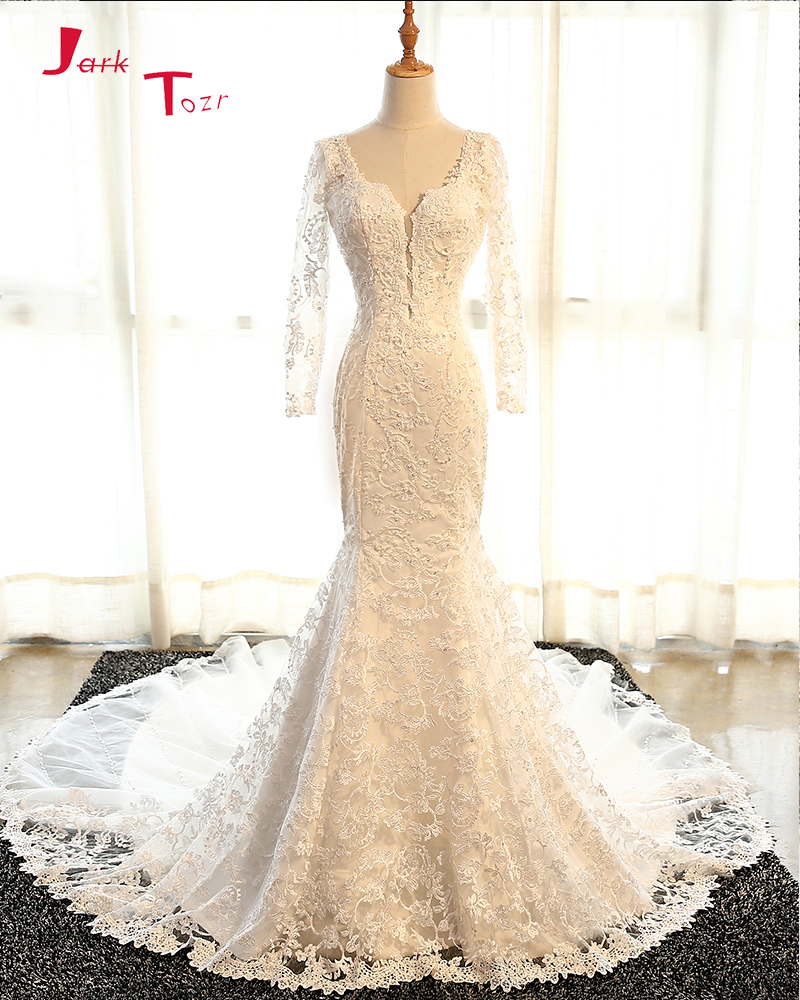 Jark Tozr New Arrive Long Sleeve Sexy Backless Appliques Beading Lace Mermaid Wedding Dresses With Chapel Train 2018 Mariage