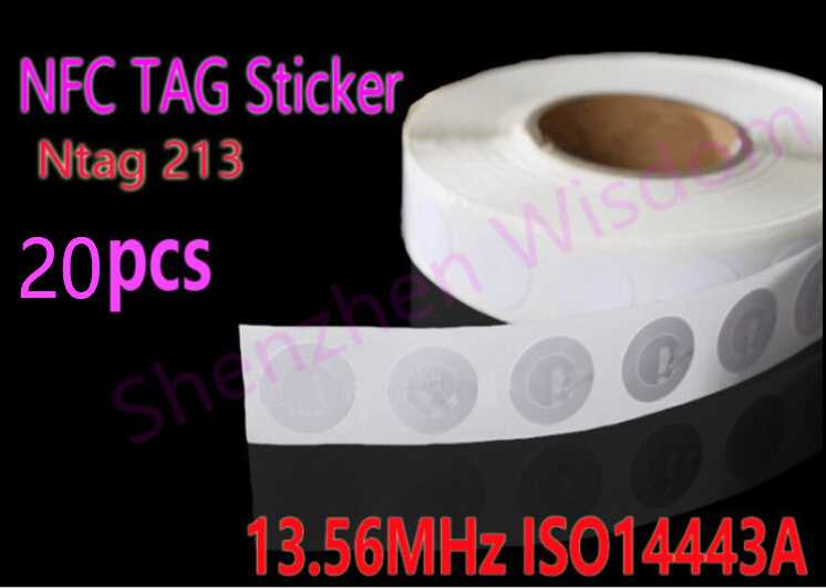 20pcs/Lot NFC Tags Sticker 13.56MHz ISO14443A Ntag 213 NFC Stickers Universal Lable Ntag213 RFID Tag for all NFC enabled phones 7pcs universal nfc tags multicolor square nfc tag stickers lables for nfc enabled device wholesale