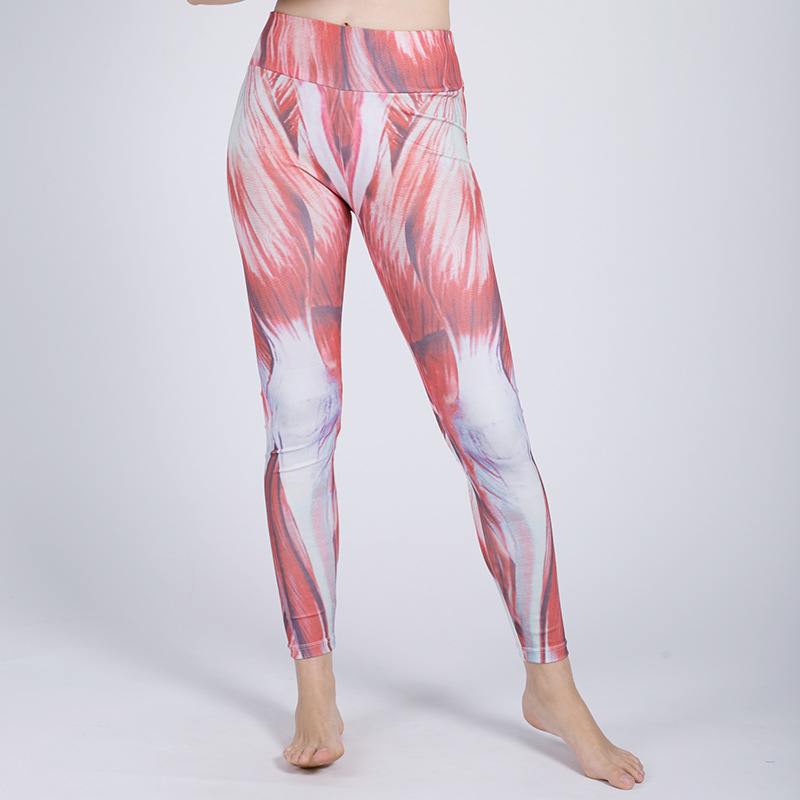 Fashion Women Leggings Four Needles Six Lines Muscle printing Fitness Legging Sexy Silm Legins High Waist Stretch Trouser Pants