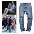 side zipper  design summer stretch Mens Ripped Biker Jeans Demin Pants  Motorcycle Slim Fit Washed elastic hole Joggers trousers
