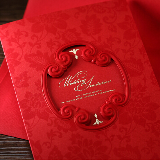 10 Pieces Lot Traditional Chinese Red Wedding Invitation Card With Pink Inner Sheet For Favors In Cards Invitations From Home Garden On