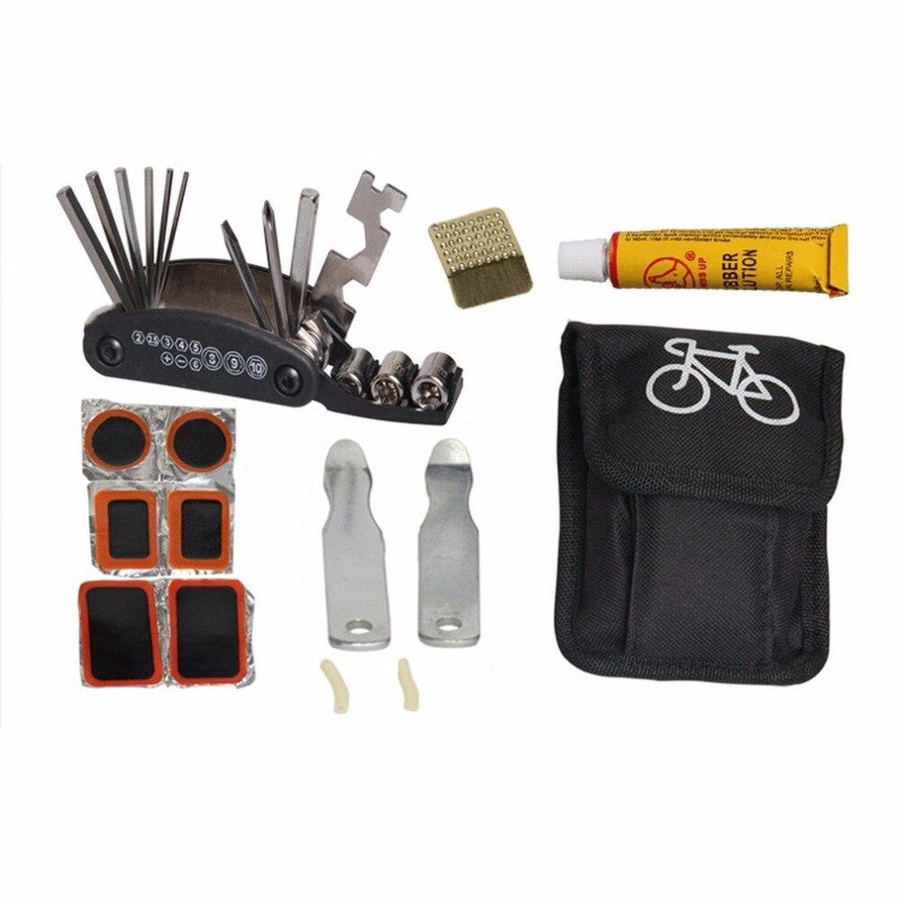 Bicicleta Bicicletas Herramientas de reparación de neumáticos kit set bolsa multitool Ciclismo servicio hexagonal plegable Llaves inglesas herramienta Bicicletas portátil montar equipos W