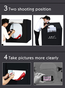 Image 3 - CY 80*80 Fotostudio LED soft box Schieten photo light tent set + 3 Achtergronden + dimmer kinderkleding shoting tent kits