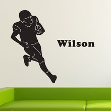 цена на Personalized Name Football Player Wall Stickers Boy Vinyl Decals Removable Home DIT Decals for boys Kids KW-169