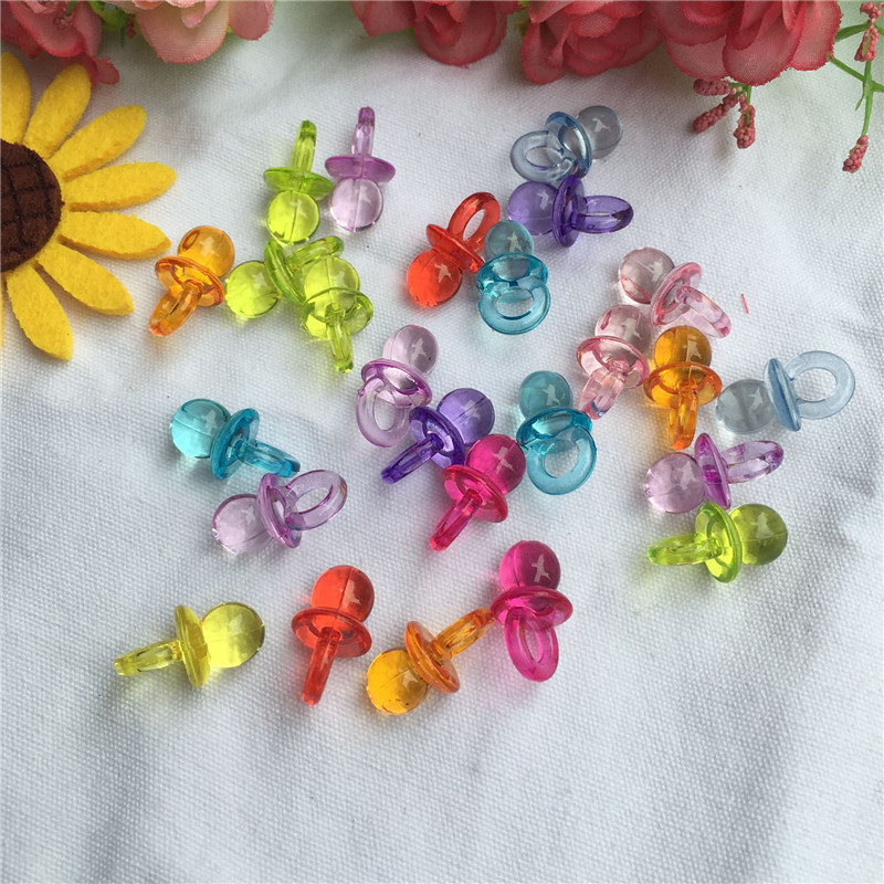 50x Acrylic Pacifiers Soother Pendant Candy Color Baby Shower Favors Charms Gift