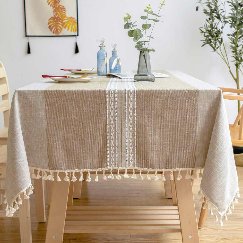 Nordic Linen Cotton Round Tablecloth Brown Woven Striped Waterproof Dining Table Cloth Lace Pendant Rectangular Table Cover