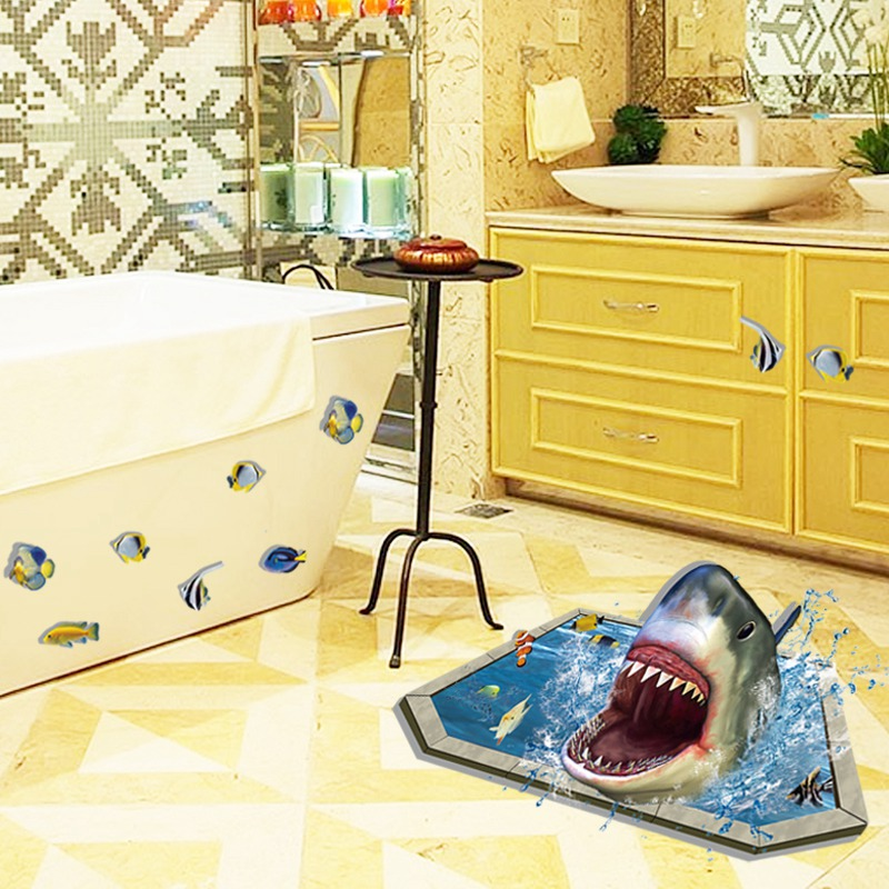 3D Effect Pool Shark Removable Floor Wall Stickers diy Home Decor ...