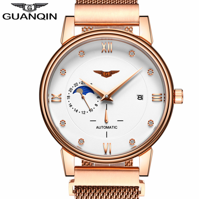GUANQIN Original Brand Watch Luxury Men Automatic Mechanical Watches Mens Fashion Stainless Steel Strap Gold Wristwatch men binger genuine gold automatic mechanical watches female form women dress fashion casual brand luxury wristwatch original box