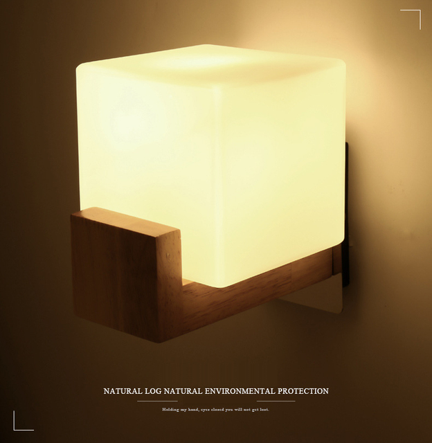 Anese Style Brief Led Cube Frosted Gl Solid Wood Holder Metal Plate Wall Mount Lamp