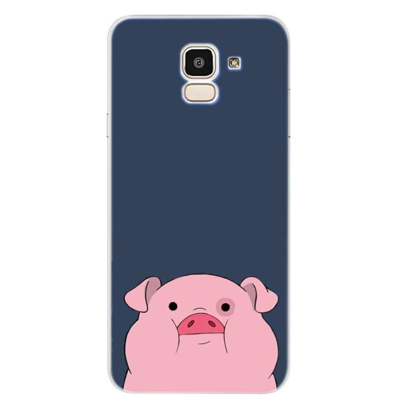 Caso para Samsung Galaxy A30 A50 J1 J3 J4 J5 J6 J7 A3 A5 A7 A8 2016 de 2017, 2018 suave TPU de silicona de dibujos animados cubierta Funda D008