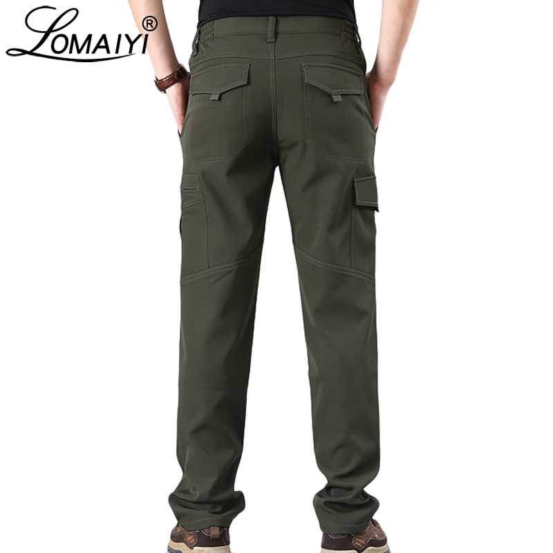 LOMAIYI Men's Winter Cargo Pants Men Warm Fleece Softshell Trousers With Zipper Pocket Mens Army Military Waterproof Pants AM353