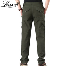LOMAIYI Mens Winter Cargo Pants Men Warm Fleece Softshell Trousers With Zipper Pocket Mens Army Military Waterproof Pants AM353