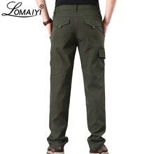 Lomaiyi calças de carga de inverno dos homens de lã quente softshell calças com zíper bolso dos homens exército militar calças à prova damágua am353