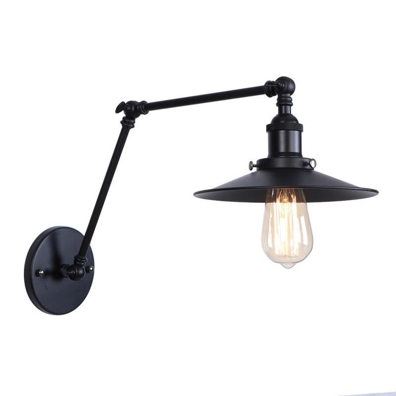 American Iron Long Arm Wall Sconce Edison LED Wall Light Fixtures Adjust Bedside Wall Lamp Industrial Vintage Lighting Lampara триммер philips hc1091 15 белый серый