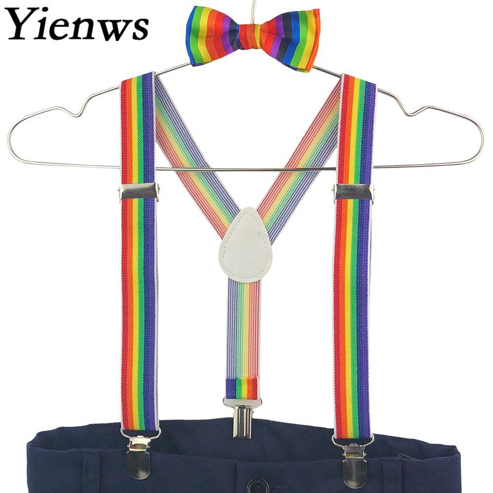 Yienws Bow Tie Suspenders For Boys 3 Clip Button Pants Braces Children Kids Rainbow Bowtie Suspenders 2.5cm Bretels YiA075