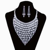 Silver Tone Crystal Tennis Choker Necklace Set Earrings Factory Price Wedding Bridal Bridesmaid African Jewelry Sets#N226