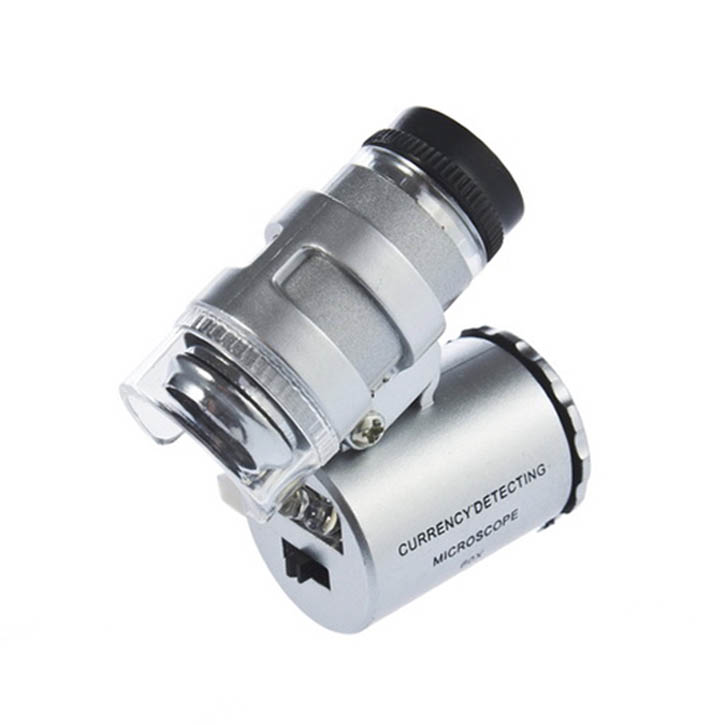 2PCS New Mini 60X Pocket Microscope Jewelry Magnifier Loupe Glass LED UV Light Brand New