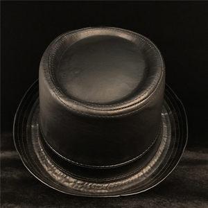 Image 5 - 100% Leather Men Balck Pork Pie Hat For Dad Fedora Hat Fasgion Gentleman Flat Bowler Porkpie Top Hat Size S M L XL